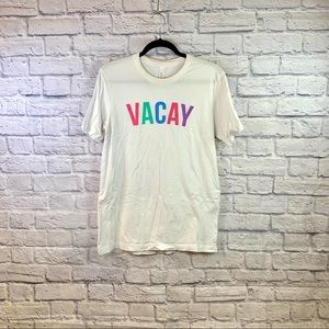 """White """"Vacay"""" Multicolor Letter Graphic Tee"""
